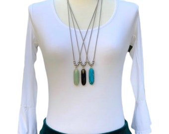 Long Necklace, Gemstone Necklace, Women's Necklace, Turquoise Necklace, Handmade Necklace, Unique Gift, Handmade Gift, Onyx Necklace
