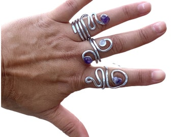 Aluminum  ring, metal ring, silver ring, hammered ring, wire wrap ring, handmade ring, crystal ring, amethyst ring