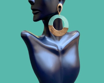 Gold Filled, Acrylic & Wood Statement Earrings