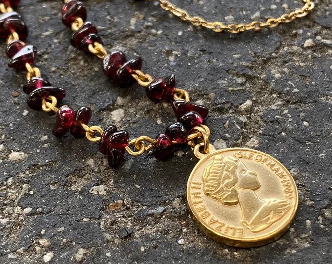 Garnet Gemstone & Coin Pendant Necklace