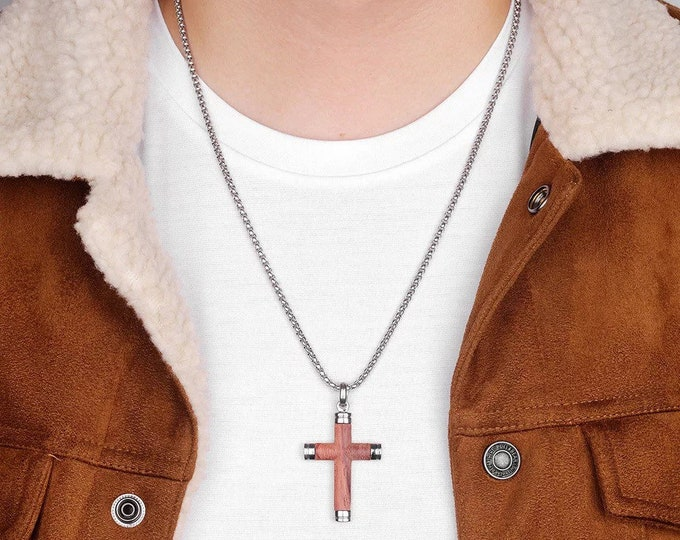 Wood & Stainless Steel Cross Pendant Necklace