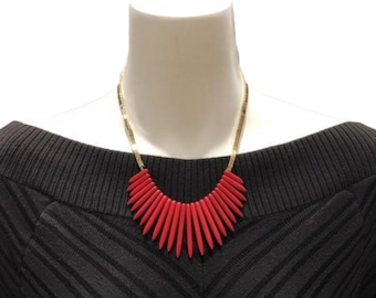 Red Spikes Statement Necklace