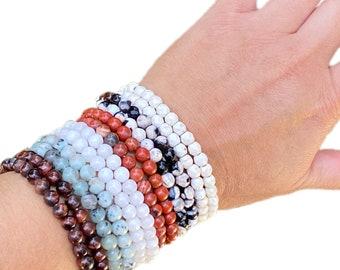 Gemstone bracelet, beaded bracelet, jasper bracelet, jade bracelet, onyx bracelet, quartz bracelet, handmade bracelet