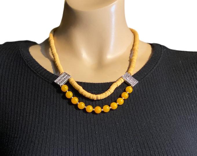 Mustard dyed Jade Gemstones Statement Necklace
