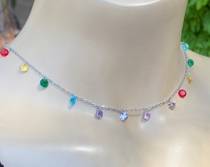 Rainbow Colors choker necklace, handmade and one of a kind gemstones necklace