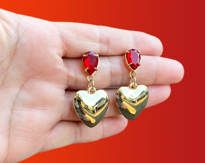 Red Heart Gold Filled Statement Earrings