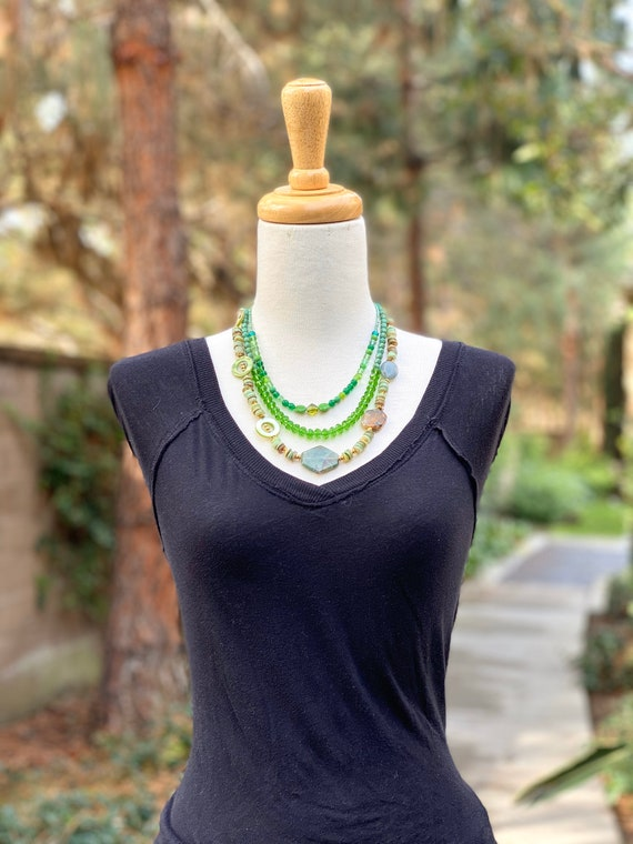 Multi strand necklace, green necklace, spring necklace, beaded necklace, multi strand necklace, gematone necklace, statement jewelry