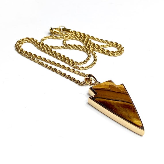 Tiger's eyes necklace, tiger's eyes pendant, amulet pendant, arrow pendant, men necklace, gemstone necklace, gold necklace, men fashion