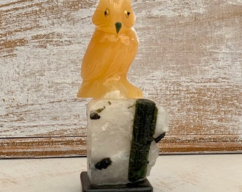 Hand carved Owl Gemstone Bird