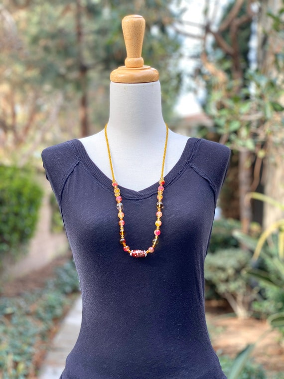 Yellow necklace, gemstone necklace, Beaded necklace, long necklace, handmade necklace, women necklace, Statement Necklace