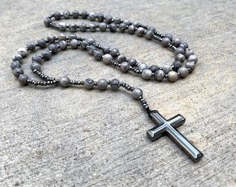 Jasper and Hematite Rosary