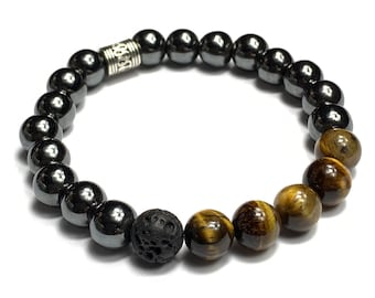 Hematite Tiger's Eye and Lava Stone Bracelet