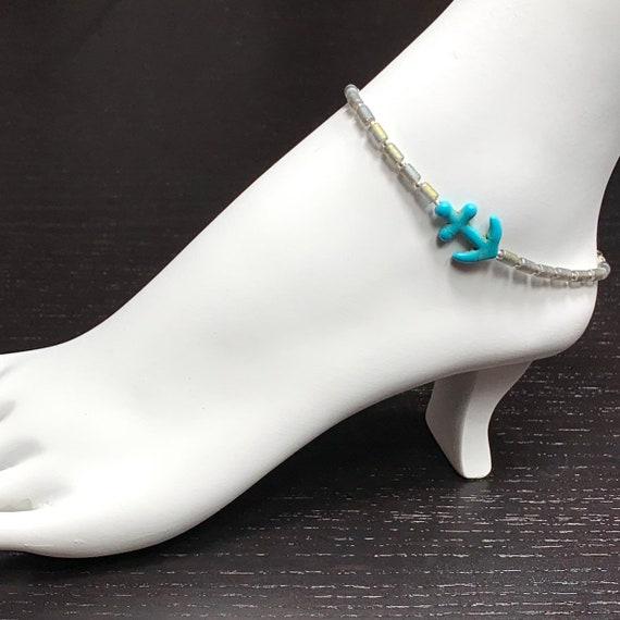 Anklets, Beaded Ankkets, Ankle Bracelet, Anklet, Gemstone Bracelets, Blue Bracelet, Anchor Bracelet