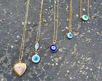Gold Filled Evil Eye Pendant Necklace