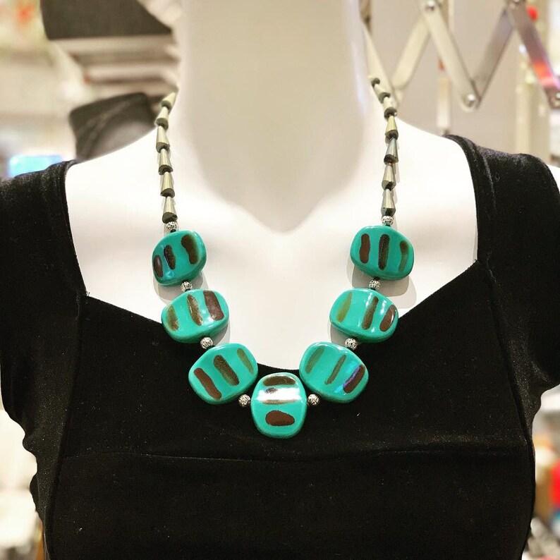 Ceramic necklace Unique Gift Women Necklace Gemstone Necklace Handmade Necklace Green Necklace Statement Necklace