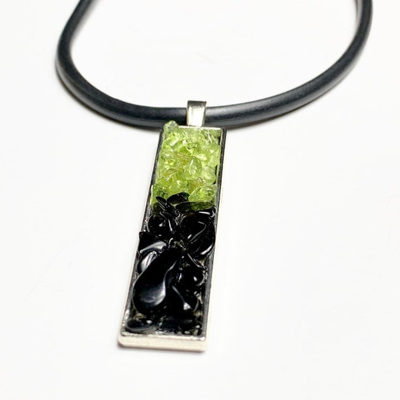 Peridot Pendant • Onyx Pendant • Handmade necklace • Women's necklace • Gemstone Necklace • Pendant Necklace