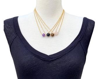 Single Gemstone Dainty Necklace