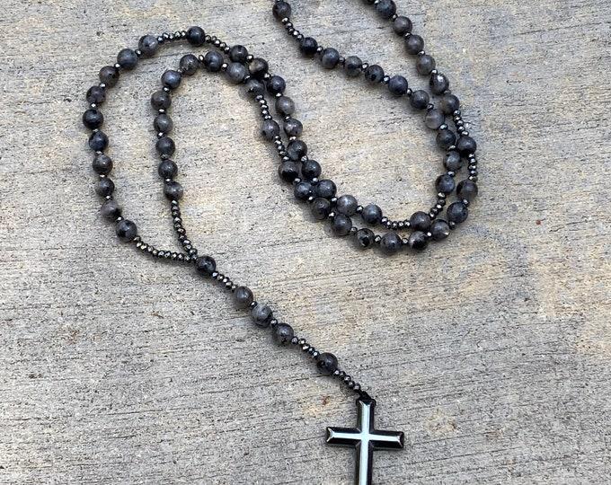 Labradorite and Hematite Rosary