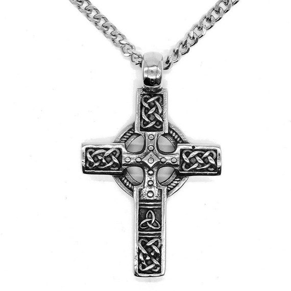 Cross necklace, crucifix pendant, amulet pendant, good luck pendant, men necklace, man necklace, silver necklace, celtic cross