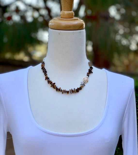 Tiger Eye  Necklace, Beach Style Necklace, Beaded Necklace, Shell Necklace, Handmade Necklace, Turtle necklace