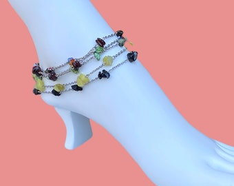 Gemstones and chain anklet