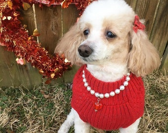 Pearls & Heart Pet Necklace