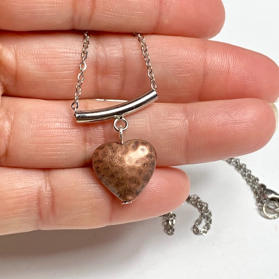 Brass heart, metal heart, heart pendant, heart necklace, copper heart, women's gift, wedding gift, valentine's day