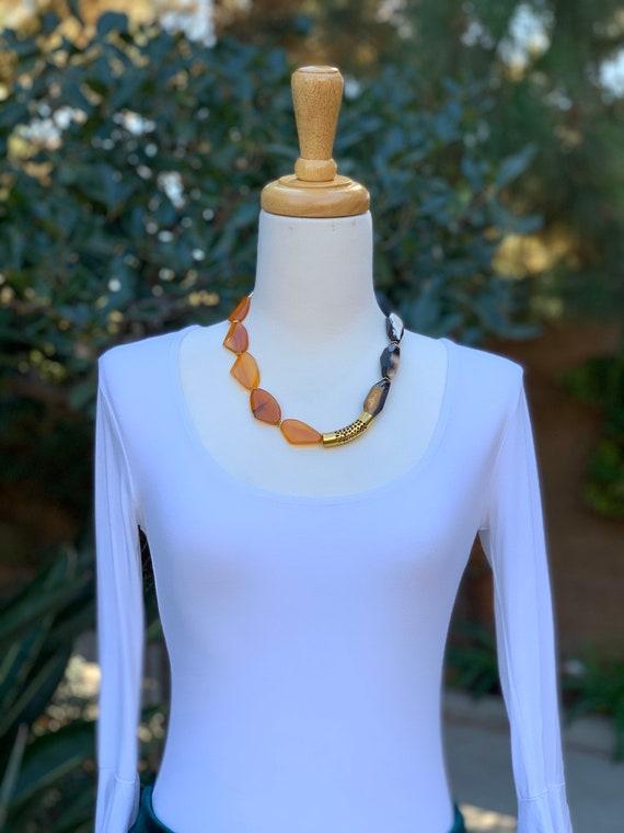 Orange Necklace, Beaded Necklace, women's Gift, Gemstone Necklace, Black Necklace, Statement Necklace