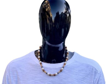 Wood, Howlite, and Hematite Gemstone Beaded Necklace