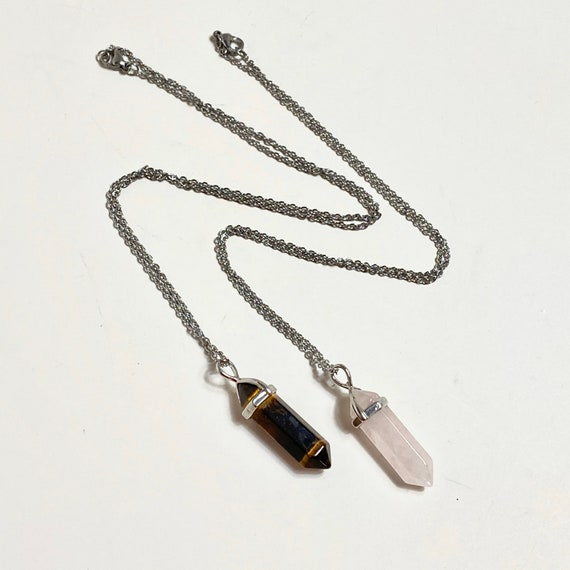 Tigers Eye pendant Necklace, gemstone necklace, wirewrap bead, Rose Quartz necklace, custom jewelry, handmade jewelry