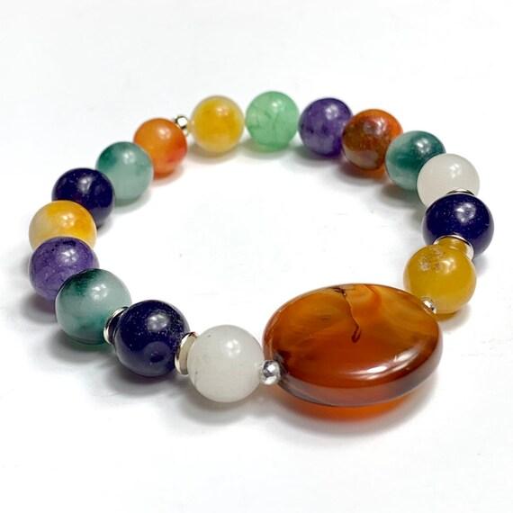 Gemstone bracelet - healing stone bracelet - agate beads bracelet - women's bracelet - colorful bracelet - women's gift