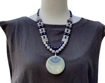Gray Gemstone & Pearls Statement Necklace
