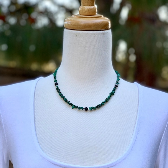 Onyx Necklace, Beach Style Necklace, Beaded Necklace, Shell Necklace, Handmade Necklace, Green necklace