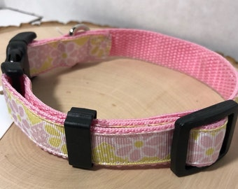 Pink with flowers dog collar