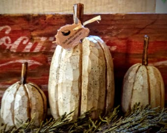 Carved,wooden, Pumpkins, (3) from basswood.