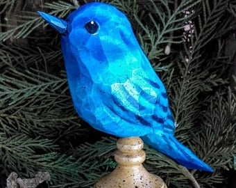 Hand Carved Bird (Indigo Bunting) Perched on Antiqued Finial