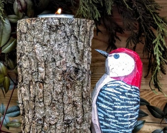 Red Bellied Woodpecker Log Candle Holder