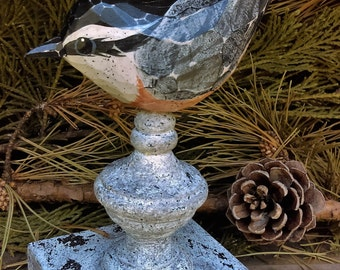Hand Carved Bird Nut-Hatch carved from White Pine.  Perched on antiqued finial.