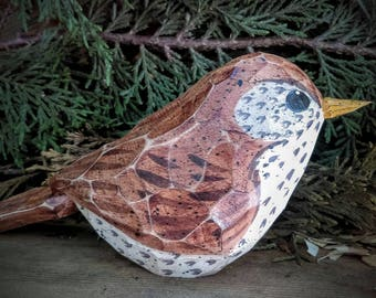 Carved Wooden Windowsill Bird (Wood Thrush)