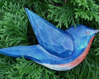 Hand Carved Bird Ornament (BlueBird)