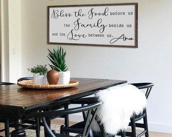 Large dining room sign | bless the food before us | kitchen wall decor | farmhouse wall decor | framed sign | large prayer sign | 48"|340|270|?|en|2|54582db7bb3a5bca3d45aa7735458ac4|False|UNLIKELY|0.31769028306007385