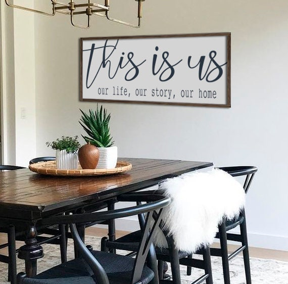 Farmhouse decor wall decor this is us sign dining room etsy - Dining room wall decor ...
