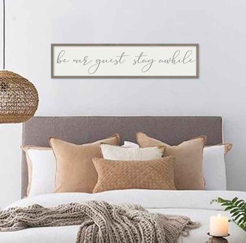 Guest Room Decor Be Our Guest Stay Awhile Framed Sign   Etsy