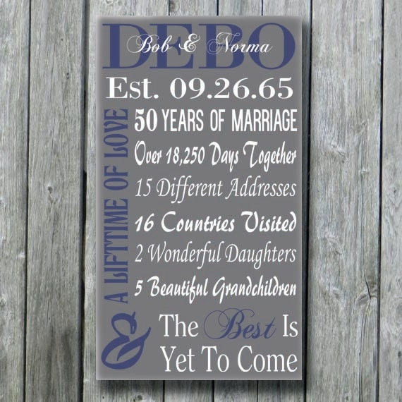 Gift Ideas For 35th Wedding Anniversary: Personalized 50th 30th 35th 40th 45th Anniversary Gift