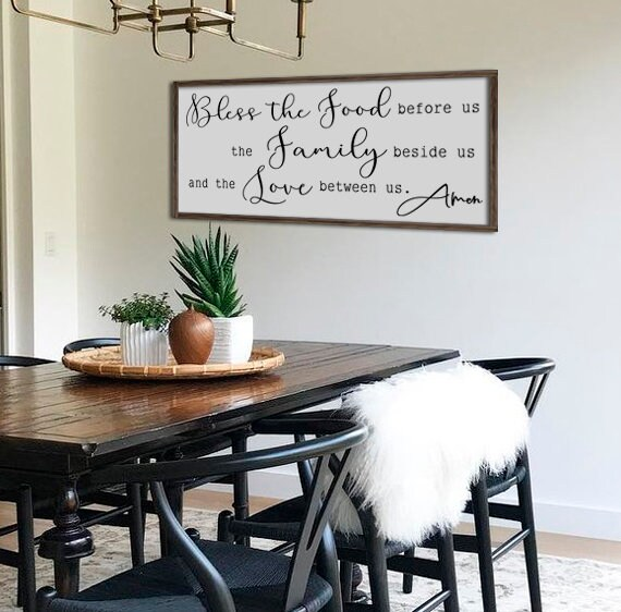 Art For The Dining Room: Large Dining Room Sign Bless The Food Before Us Kitchen