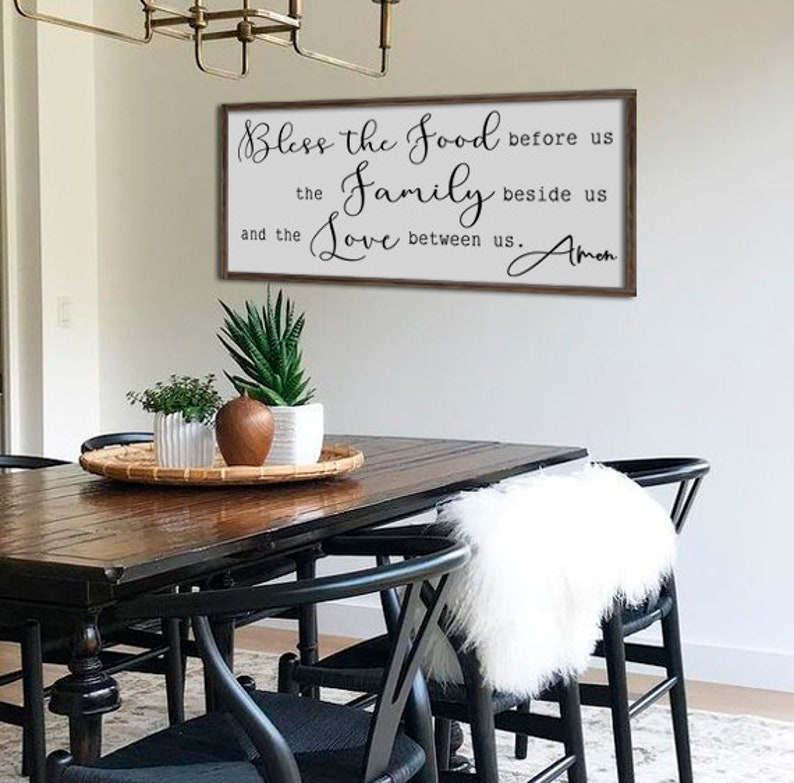 cddc74d3052 Large dining room sign bless the food before us kitchen