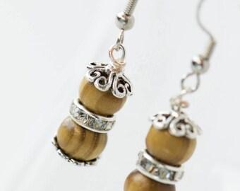 Unique Custom Brown Wooden Beaded Earrings, Handmade Earrings, Bead Earrings, Wood Earrings, Wood Bead Earrings