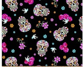 Sugar skulls with glitter, 100 Cotton fabric by the half yard