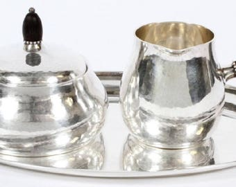 GEORG JENSEN Sterling Silver Sugar Creamer and Tray SET #80A & #223A Hand Hammered