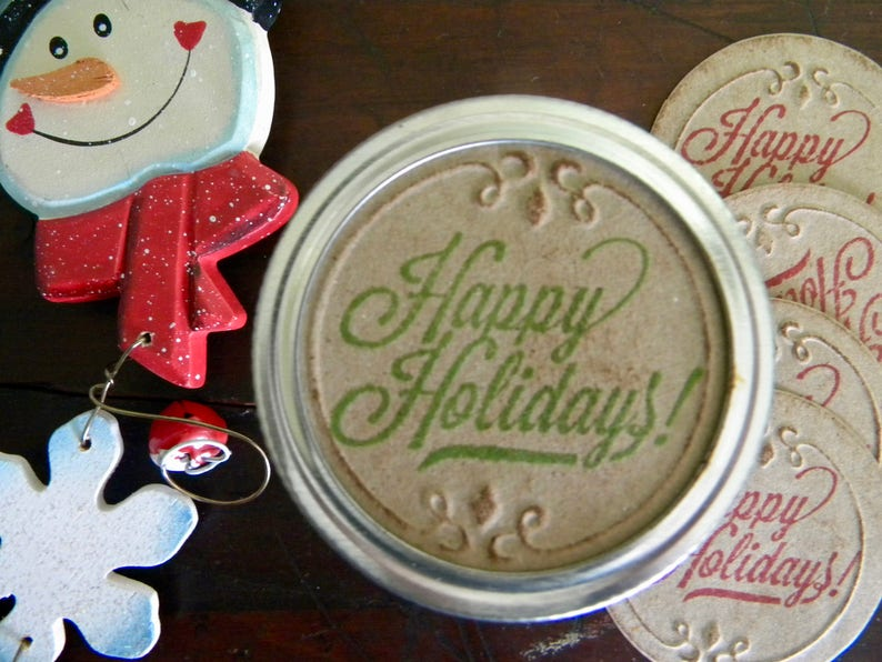 Canning Jar Lids Gifts in a Jar Jar Labels Mason Jar Labels Gift Wrapping Jar Stickers Happy Holidays Set of 8